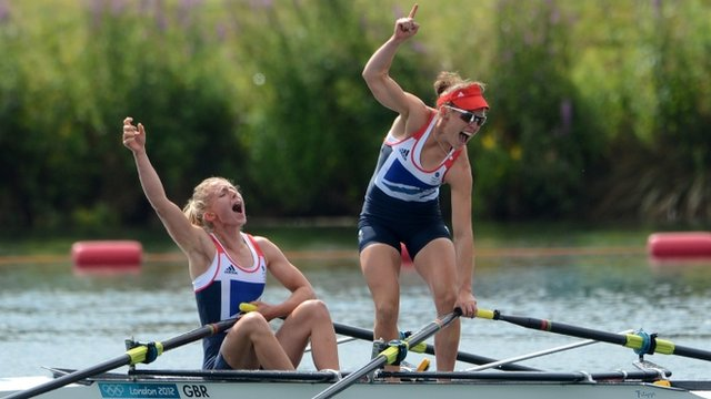 GB's Sophie Hosking and Katherine Copeland celebrate after winning the gold medal