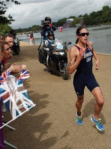 Helen Jenkins competing in the triathlon at London 2012