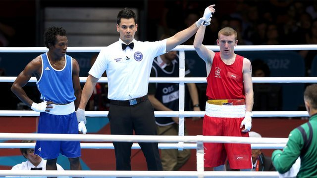 Paddy Barnes is declared the winner at the ExCel Arena