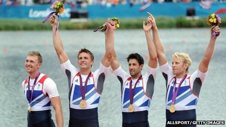 Great Britain's Alex Gregory, Pete Reed, Tom James and Andrew Triggs Hodge celebrate after winning the gold medal in the men's four final A of the rowing event during the London 2012 Olympic Games, at Eton Dorney