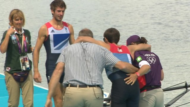 Mark Hunter was helped to his feet by Sir Steve Redgrave