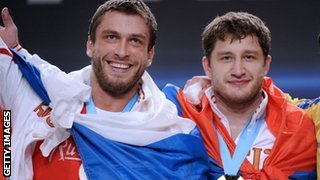 Russian weightlifters Dmitriy Klokov and Khadzhimurat Akkaev