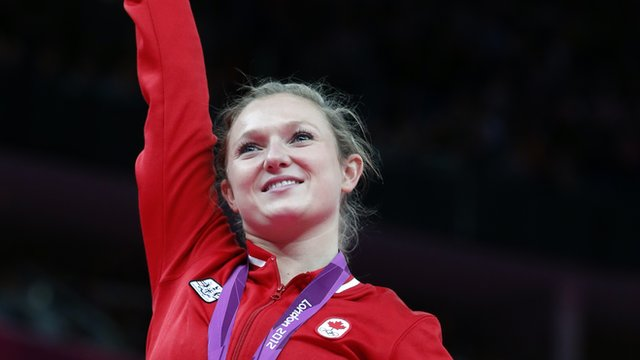Rosannagh MacLennan celebrates her gold medal victory