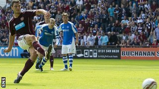 Hearts striker John Sutton scores a penalty against St Johnstone