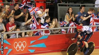 British fans cheer on Ed Clancy at the velodrome