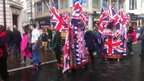 Stall-holders took advantage of the game by selling Union Jack flags