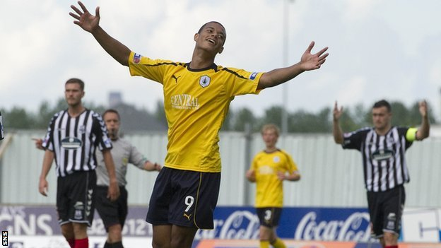 Lyle Taylor celebrates scoring for Falkirk against Elgin City