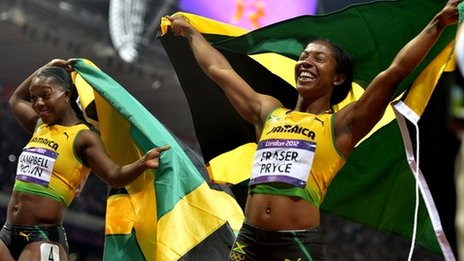 Shelly-Ann Fraser-Pryce (right) and Veronica Campbell-Brown of Jamaica