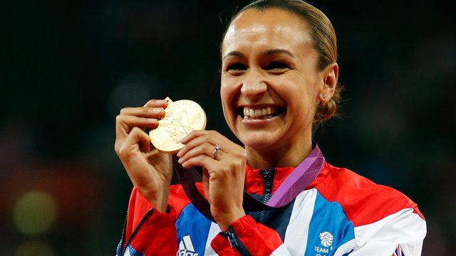 Jessica Ennis with her Olympic gold medal