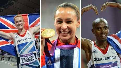Greg Rutherford, Jessica Ennis, Mo Farah