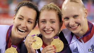(From left) Dani King, Laura Trott and Joanna Rowsell 