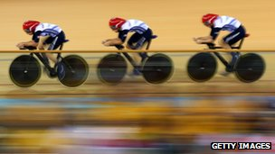 Dani King, Laura Trott, and Joanna Rowsell winning gold and breaking the world record