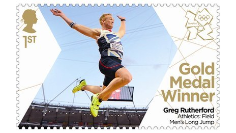 The stamp featuring Gold medal winner Greg Rutherford