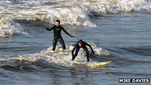 Surfers in Rest Bay, Porthcawl