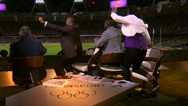 BBC commentators Colin Jackson, Michael Johnson and Denise Lewis can hardly contain their excitement