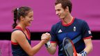 Laura Robson and Andy Murray of Great Britain celebrate