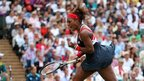 Serena Williams reacts after defeating Maria Sharapova in straight sets to win the gold medal match of the women's singles tennis
