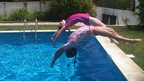 Inspired by Tom Daley and Pete Waterfield, these young ladies pull off a brilliant synchronised backward dive. Great marks for style and execution.