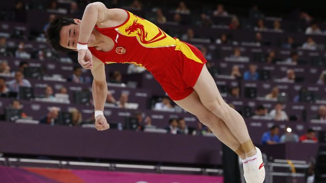 Men's floor gold medallist China's Kai Zou