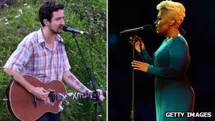 Frank Turner and Emeli Sande performing at the Olympic opening ceremony