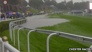 Waterlogged track at Chester Races