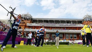 Great Britain's Larry Godfrey (far left) in front of the Lord's pavilion