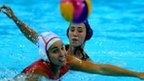 Francesca Snell of Great Britain in action with Anna Espar Llaquet of Spain