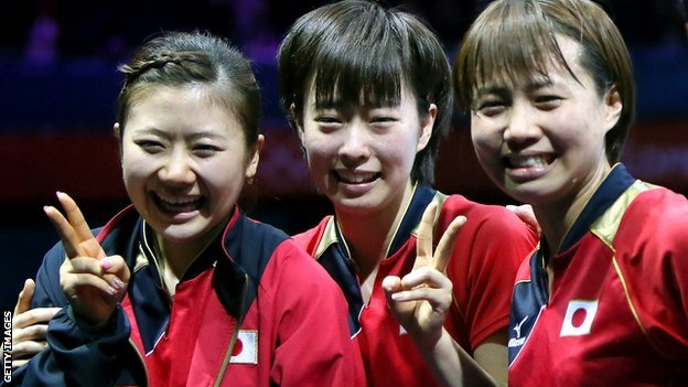 Kasumi Ishikawa, Ai Fukuhara and Sayaka Hirano of Japan