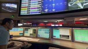 Communications room at JPL
