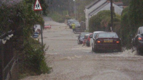 Flooding in Lampeter Velfrey near Narberth