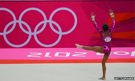 Gabrielle Douglas performing in the Gymnastics