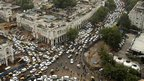 Traffic jams in Connaught Place, Delhi, on Tuesday