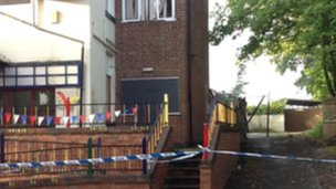 Fire-damaged day care centre in Derby