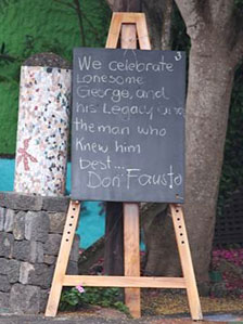 Blackboard with message for George