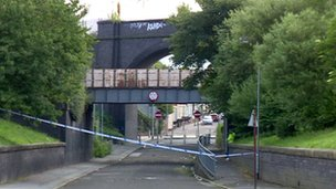 Police cordon at the scene in Bootle