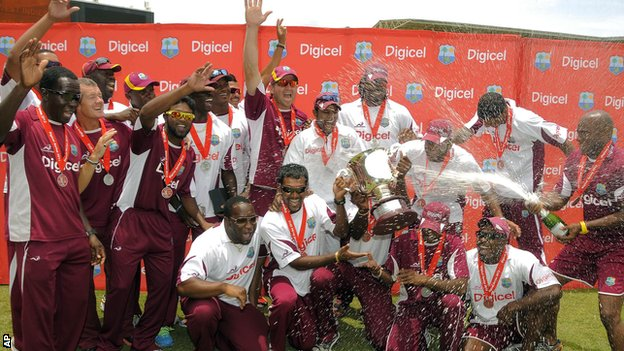 West Indies celebrate with the Test series trophy