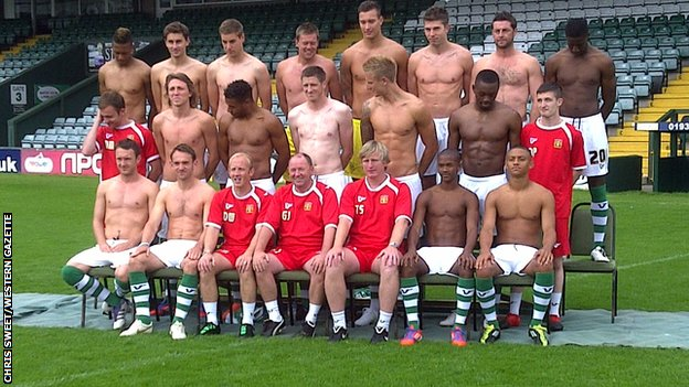 Yeovil Town appear shirtless for their team photo