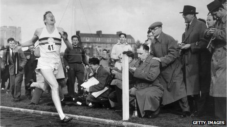 Roger Bannister about to cross the tape at the end of his record breaking mile run at Iffley Road, Oxford, on 6 May 1954