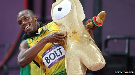 "Usain Bolt of Jamaica celebrates after winning the gold medal in the Men""s 100m Final"
