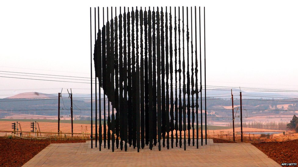 A sculpture of former South African President Nelson Mandela at Howick where he was arrested 50 years ago.