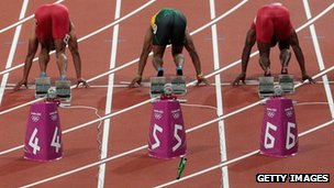 A bottle thrown on to the track just behind the sprinters