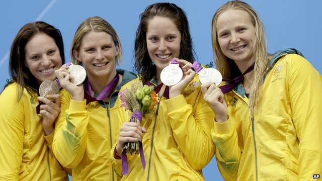 Australian silver medallists in the 4 x 100m medley relay at the Aquatics Centre