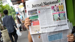 Indonesian newspaper with badminton scandal on front page