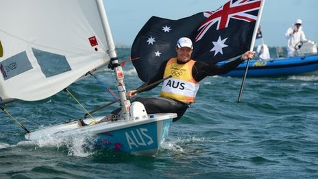 Tom Slingsby celebrates winning sailing gold for Australia