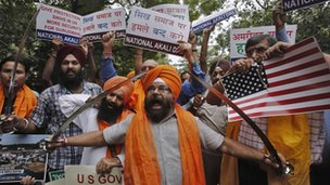 Sikh activists in New Delhi, India 6 August 2012