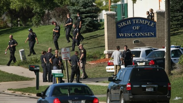 Police outside Sikh temple in Wisconsin