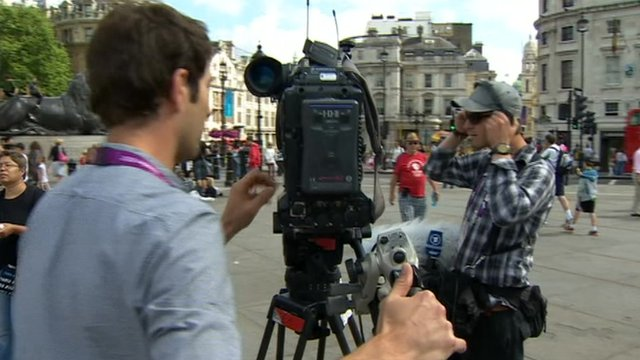 Film crew in Trafalgar Square