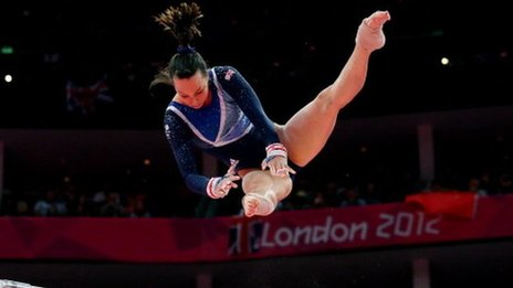 Beth Tweddle on her way to a bronze medal at London 2012