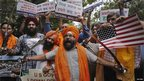 A protest in New Delhi, India, on 6 August 2012 over the US Sikh temple shooting