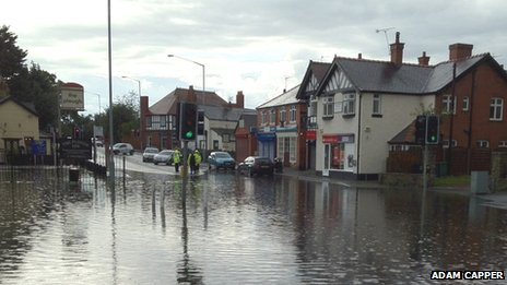 Gresford was also hit by flash floods on Sunday
